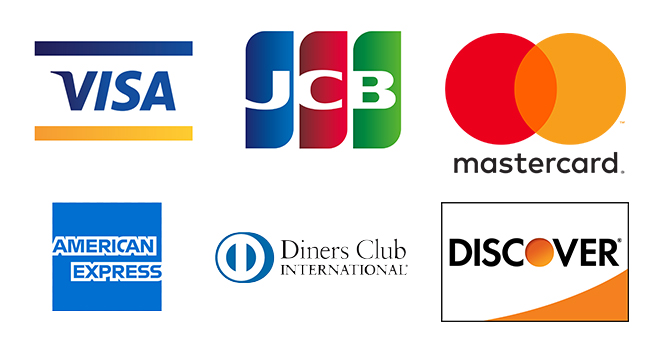 VISA・JCB・Mastercard・American Express・Diners Club・Discover
