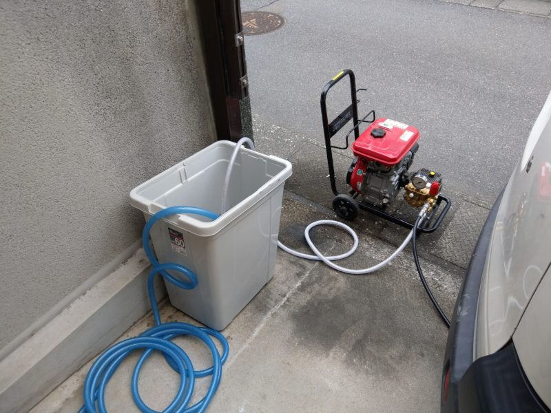 大阪市鶴見区横堤での下水排水菅つまり高圧洗浄作業