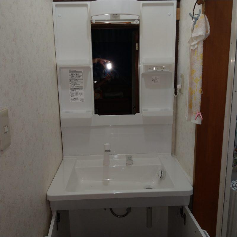 大阪府大阪市鶴見区今津北洗面水漏れ修理から洗面化粧台交換工事