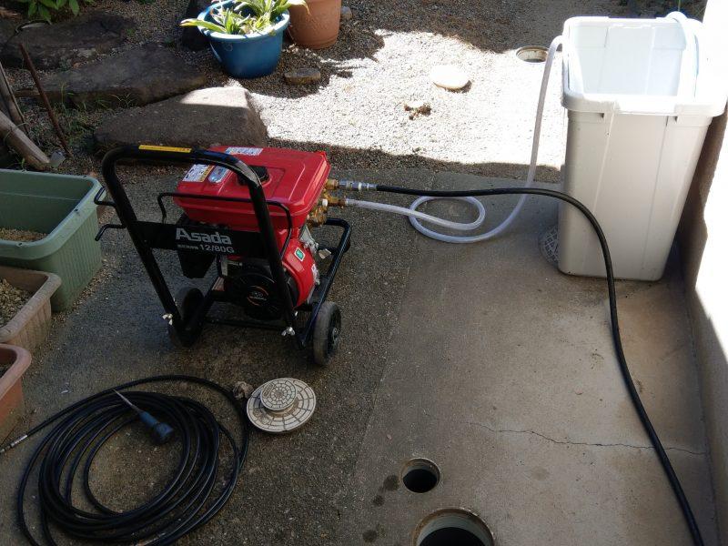 台所排水詰まり大阪府大阪市鶴見区徳庵での高圧洗浄作業